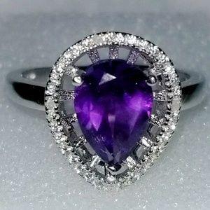 Stunning Womens 14KDiamond Amethyst Ring.